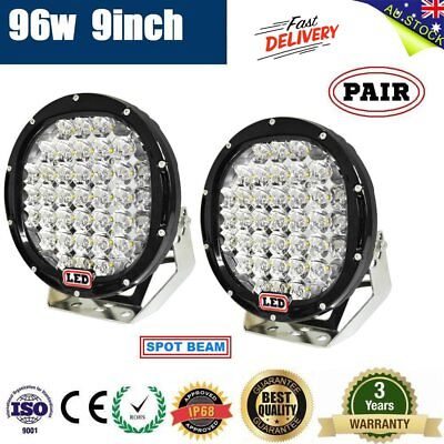 2X 9inch 96W LED DRIVING LIGHT OFFROAD ROUND Floodlight WORK CAR AUTO LAMP SUV R