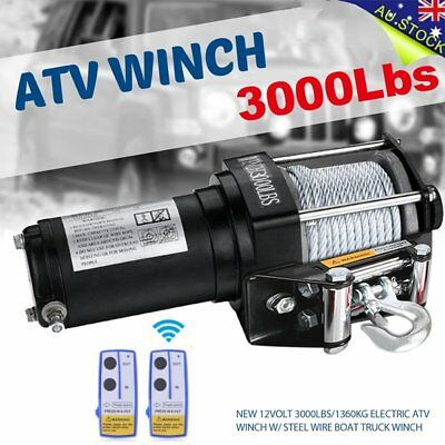 Hot 12Volt 3000LBS/1360KG Electric ATV Winch w/ Steel Wire Boat Truck Winch LL