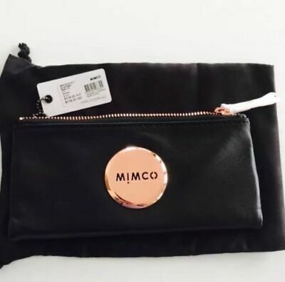 Mimco Mim Fold Sheep Leather Wallet Purse Black Rose Gold • AUTHENTIC RRP 179
