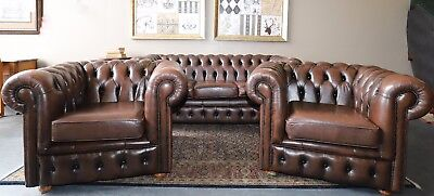 3 Piece Tan Brown Cigar Chesterfield Sofa Couch Lounge Suite Tub Chairs Armchair