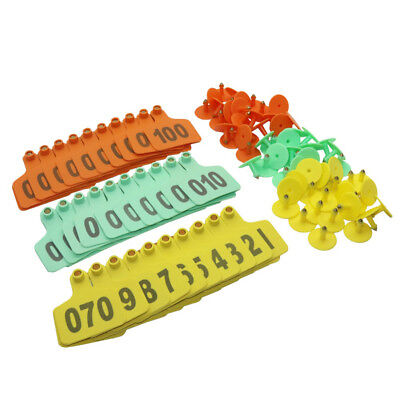 Cow Cattle Plastic Ear Tag Number 1-100 Farm Livestock Identification Cards