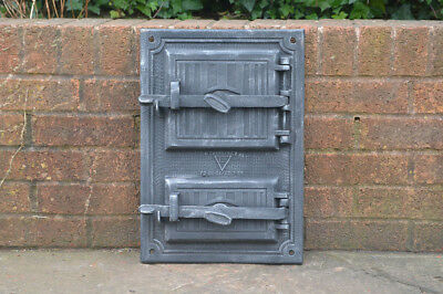33.2 x 48 cm old cast iron fire / bread oven door/doors /flue/clay/range pizza