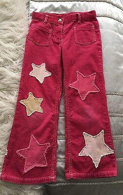 Mini Boden Designer Kids Corduroy Jeans Patches Of Stars Pink Size 5 -  6  Cute