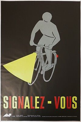 Very Rare ORIGINAL Vintage FRENCH SAFETY POSTER bicycle design AINF seriograph