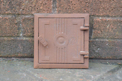 17 x 17 cm old cast iron fire bread oven door/doors /flue/clay/range/pizza