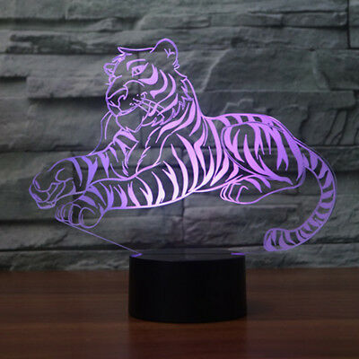 Cute Tiger Moon Lamp as Home Decoration LED Lights 7 Colors 3D Night Lights