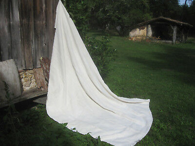 Beautiful Antique French PURE HEMP SHEET country rustic with MONO - organic!