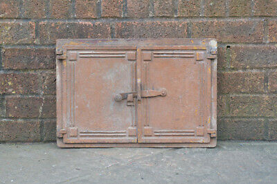 47.5 x 32.5 cm old cast iron fire bread oven door doors flue clay range pizza