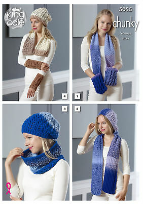 King Cole Ladies Chunky Knitting Pattern Scarves Cowl Hat & Wrist Warmers 5055