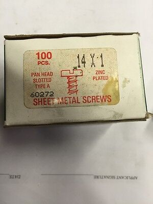 Vintage #14 X 1 Inch Pan Head Slotted Steel Sheet Metal Screws Box Of 100