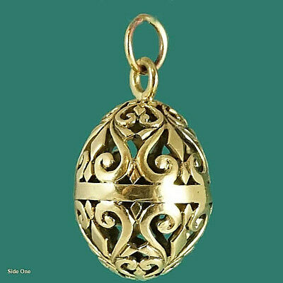 Gold Filigree Egg Pendant - Looks Great on a Long Chain with Other Pendants