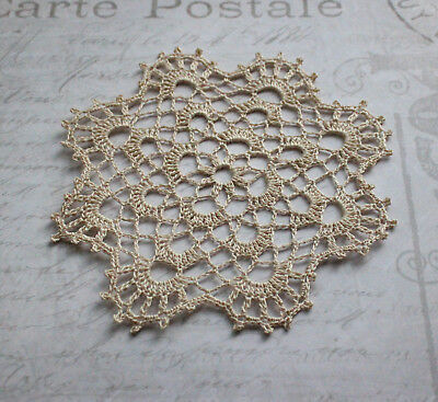 Small beige crochet doily or coaster NEW hand made