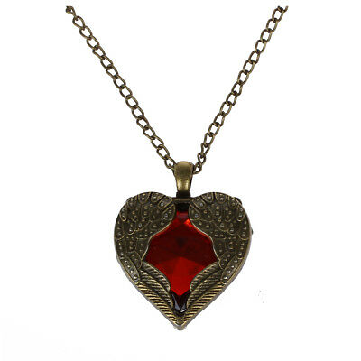 Angel Wings Wrapped Around a Red Heart Pendant Necklace With long 70cm chai P6Y5
