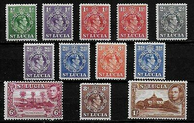 St Lucia 1943 KGVI Definitives & Pictorials - SS to 1/- perf details below - MH