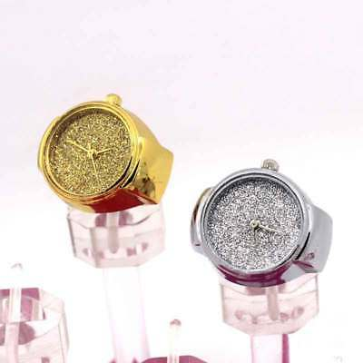 Women Men Dial Quartz Analog Finger Watch Bling Steel Cool Ring Elastic Watch