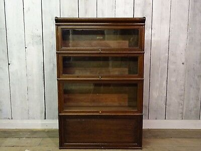Vintage Genuine Globe Wernicke Four Tier Oak Sectional Bookcase Display Unit