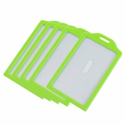 Green Clear Plastic Vertical Business Working ID Badge Name Card Holder 5 P H8M5
