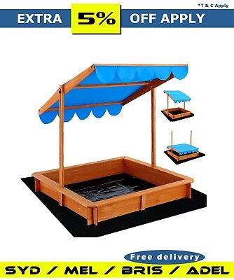 Extra Large Wooden canopy Sandpit Sandbox Kids Outdoor Toy Sport Beach Backyard