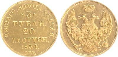 Russia/Poland 3 Ruble/20 Zlotych 1834 Gold extremely fine