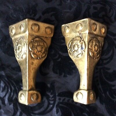 Pair Of Matching Ornate Rose Design Vintage Style Brass Cornices