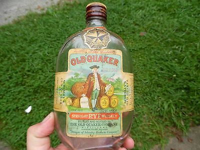 Old Quaker Embossed and Full Labeled 1940's Whiskey Flask - Great Label!