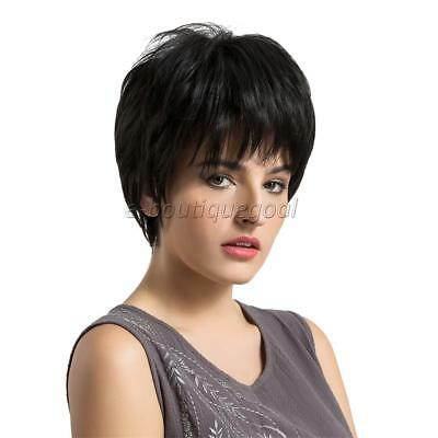 10 Pouces Femmes Naturel Court Droite Bang Side Synthétique Full Hair Wig