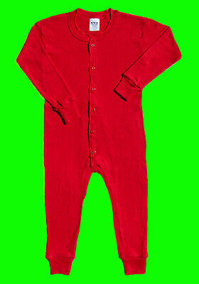 CHILDRENS RED UNION SUIT 100% Cotton Size LARGE One Piece Long johns