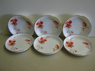 Vintage Porcelain Butter Pats Thomas Bavaria Art Deco Orange/Gold/Black