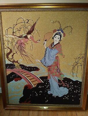 Vintage Oriental Needlework Picture Estate Find 34×40