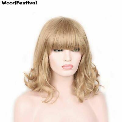 Dark light brown black blonde heat resistant curly synthetic wigs
