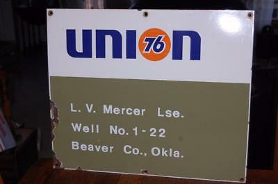 Vintage Union 76 Gas Oil  Porcelain Well Lease Metal Advertising Sign Oklahoma