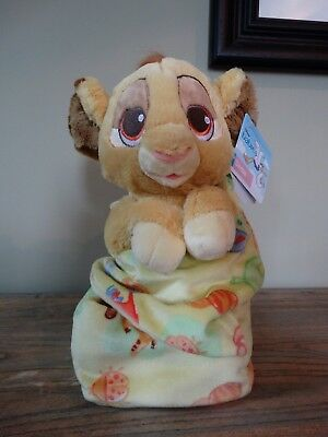 Disney Parks Babies Simba Lion King Plush Soft Toy Pouch Store Blanket Comforter