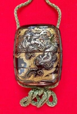 Japanese Edo Period Lacquerware Inro with Silver & Gold Overlay Dragon & Tiger