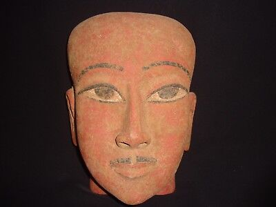 Rare Antique Ancient Egyptian wooden Mummy Mask Pharaoh 1386–1349 BC