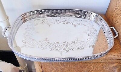 Superb Vintage Sheffield Silver Plated Chased Mirror Finish Twin Handled Tray