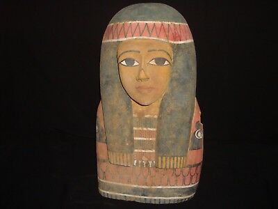 Rare Antique Ancient Egyptian huge wooden Mask Pharaoh Hatshepsut 1475–1458 B.C