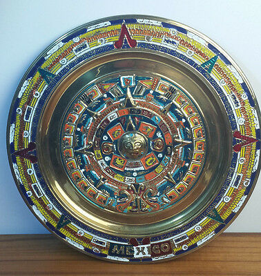 Vtg Brass Aztec Mayan Calendar Clay Wall Plaque Plate Handmade In Mexico 11""