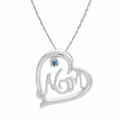 Blue Natural Diamond Accents Mom Heart Pendant 14k Gold Over 925 Sterling Silver