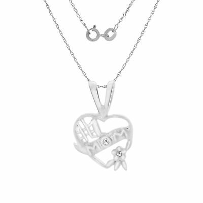 "Natural Diamond Mom Heart Pendant W/18"" Chain 14k Gold Over Sterling Silver"