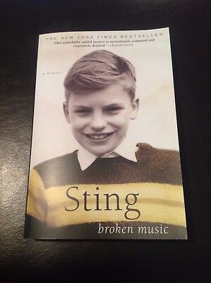 Sting signed Broken Music paperback book The Police