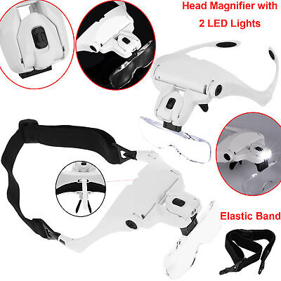 Head Magnifier with 2 LED Lights Magnifying Glass Hands Free LED Headband Lamp