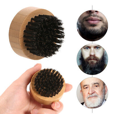 Beard Brush Round Boar Bristles for Men Mustache Hair Facial gift Bamboo Clean