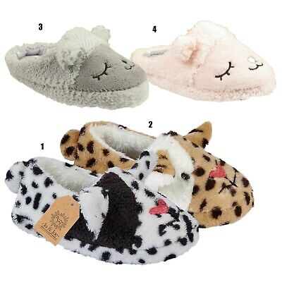 Girls Novelty Cat Slippers Childrens Kids Furry Comfort Winter Warm Mules Shoes