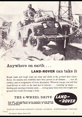 """1957 LAND ROVER 4WD SERIES 1 AD A1 CANVAS PRINT POSTER 33.1""""x23.4"""""""