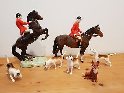 Beswick hunting horses hounds and fox