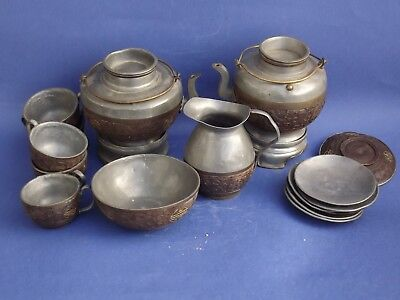 Chinese Carved Coconut And Pewter Tea Set