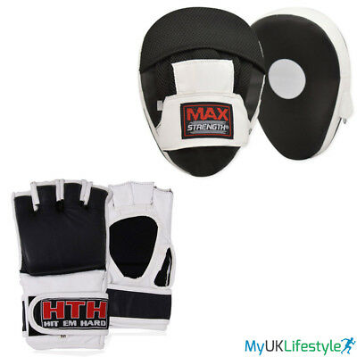 MMA Real Leather Grappling Gloves Boxing Punch Focus Pads Set Training Fight UFC