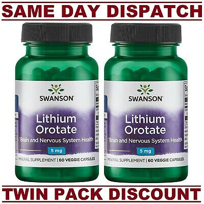 NEW Lithium Orotate Swanson ULTRA 5mg 60 Veggie Capsules TWIN PACK DISCOUNT!