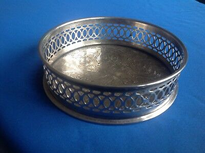 Silver Plated Round Bon Bon Dish, Tray Or Stand With Pierced Gallery