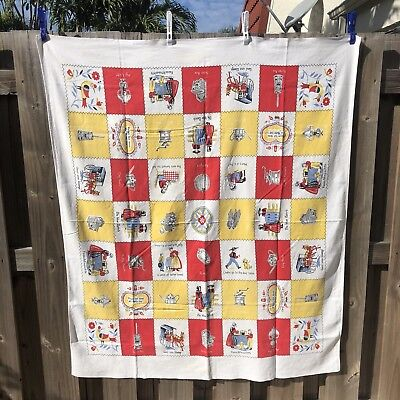 """Vtg Amish Tablecloth Red Yellow Novelty Scenes Kitchen Linen Rectangle 44"""" x 52"""""""